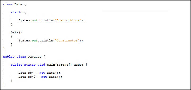 Order execution static block constructor java