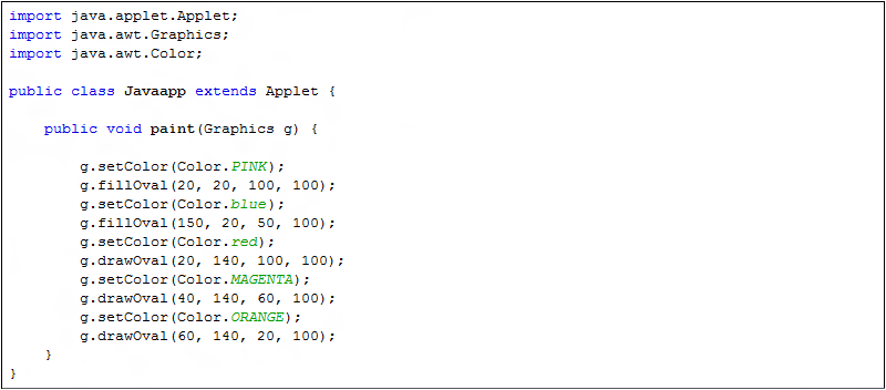 Drawing Lines Java Applet : Graphics class methods in java lesson getting started